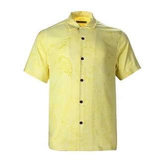 Havana Breeze Men's Relaxed-Fit Silk Cotton Pattern Shirt S