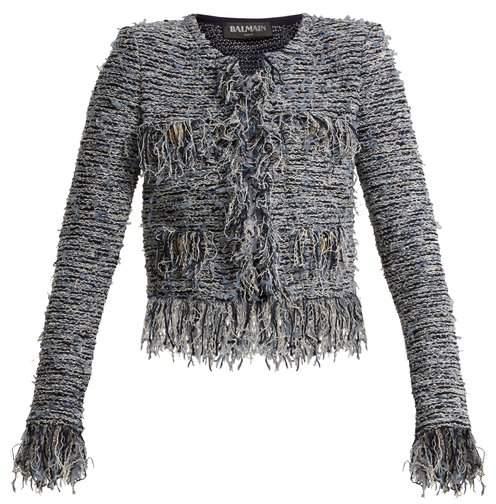 Collarless frayed tweed jacket