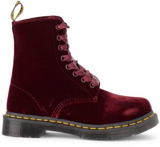 Dr. Martens Pascal Red Velvet Ankle Boots