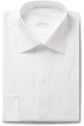 Brioni White Slim-Fit Bib-Front Double-Cuff Cotton-Voile Shirt