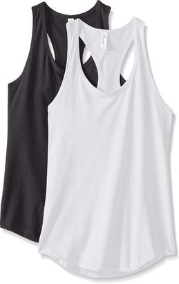 Clementine Apparel Women's Petite Plus Ideal Racerback Tank Tops (Pack of 2), White, L