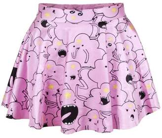 Herose Teen Girls Daily Cute Facebook Emoji Printed Outerwear Skirt One Size White