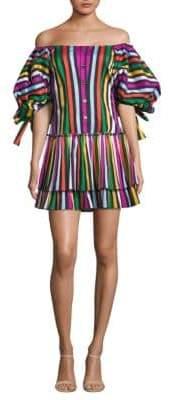 Caroline Constas Nella Striped Off-The-Shoulder Dress