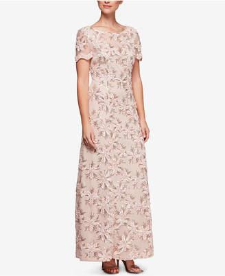 Alex Evenings Sequin-Embellished Short-Sleeve Gown