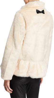 Kate Spade Faux-Fur Jacket with Polka-Dot Lining