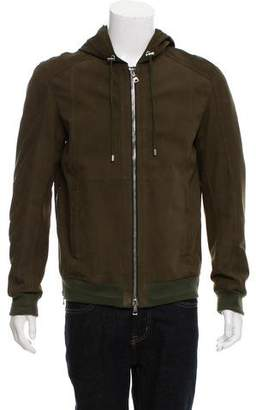Balmain Suede Hooded Jacket w/ Tags