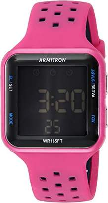 Armitron Sport Unisex 40/8417MAG Blue Accented Digital Chronograph Magenta Perforated Silicone Strap Watch