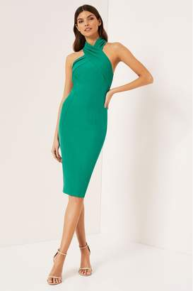 Lipsy Halter Cocktail Midi Dress - 4 - Green