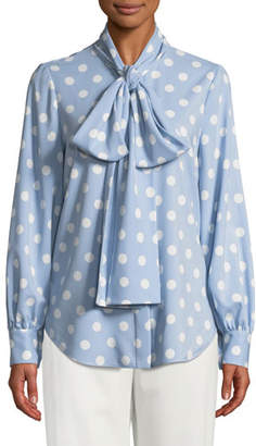 Oscar de la Renta Polka-Dot Tie-Neck Button Front Blouse
