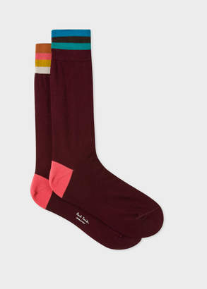 Paul Smith Men's Burgundy 'Artist Stripe' Cuff Odd Socks