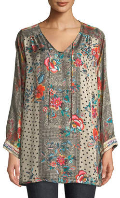 Johnny Was Jolie Floral-Print Silk Tie-Neck Tunic, Plus Size