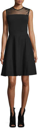 Burberry Mesh-Yoke Fit-&-Flare Dress, Black
