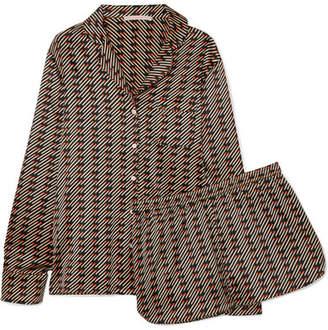Stella McCartney Poppy Snoozing Printed Stretch Silk-satin Pajama Set - Black