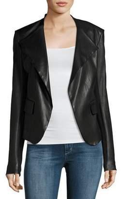 Theory Peplum Jacket Leather Jacket, Black