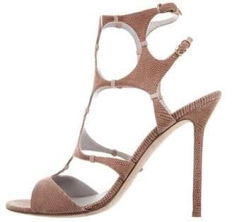 Sergio Rossi Textured Cutout Sandals