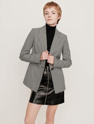Maje Belted houndstooth jacket