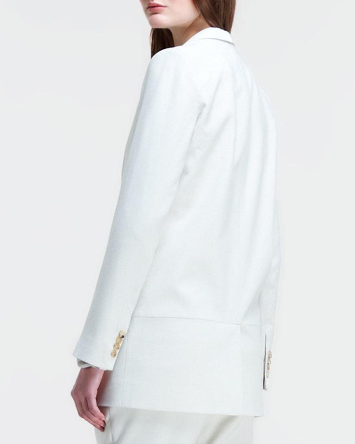 Helmut Lang Long Leather-Lapel Suit Jacket