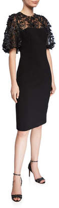 Carmen Marc Valvo 3D Embellished-Sleeve Crepe Dress