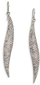 ABS by Allen Schwartz Pave Wave Drop Earrings/Silvertone
