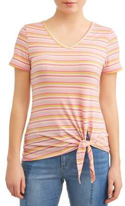 Btween Juniors' Striped Side Tie Short Sleeve V-Neck T-Shirt