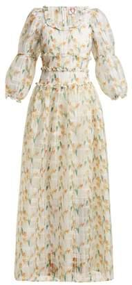 Cara Shrimps Daffodil Print Check Organza Maxi Dress - Womens - White Multi