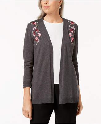 Karen Scott Petite Flower-Embroidered Open-Front Cardigan