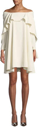 Halston Off-the-Shoulder Long-Sleeve A-Line Dress