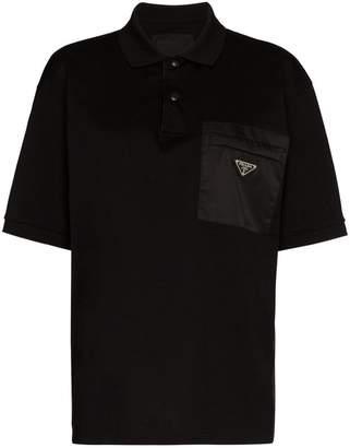 Prada logo plaque embellished pocket polo shirt