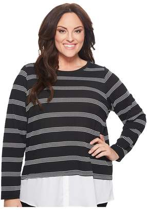 Calvin Klein Plus Plus Size Textured Stripe Twofer Women's Long Sleeve Pullover