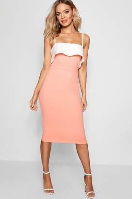 boohoo Strappy Layered Top Midi Dress