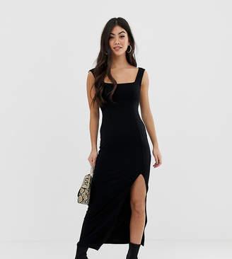Asos DESIGN Petite square neck mixed fabric maxi dress with split