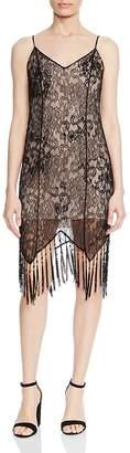 Haute Hippie Flapper Beaded Lace Fringe Slip Dress