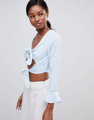 Love Double Tie Long Sleeve Crop Top