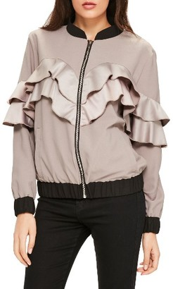 Women's Missguided Ruffle Bomber $93 thestylecure.com