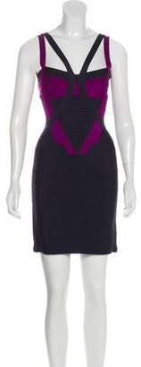 Herve Leger Mini Bandage Dress violet Mini Bandage Dress