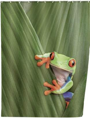 Wenko 20958100 Shower Curtain Frog-High-Quality Textile Fabric, Washable, Polyester