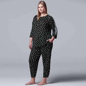 Vera Wang Plus Size Simply Vera Sleep Top & Cropped Pajama Pants Set
