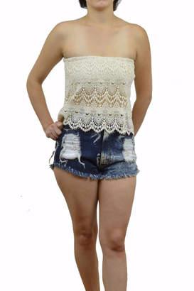 Cotton Candy Crochet Lace Bandeau Top $29.80 thestylecure.com