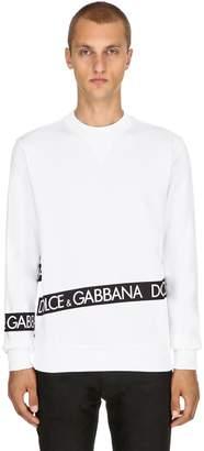 Dolce & Gabbana Logo Tape Printed Cotton Sweatshirt