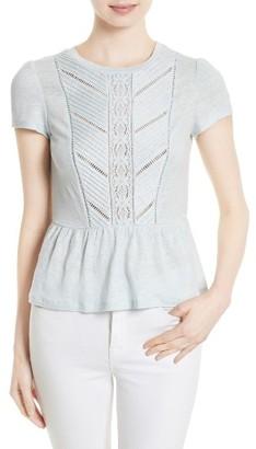 Women's Rebecca Taylor Lace Trim Linen Jersey Tee $275 thestylecure.com