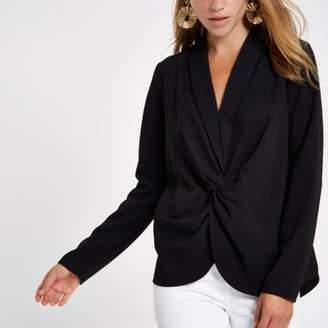 River Island Black V neck twist front blouse
