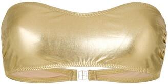 Norma Kamali metallic strapless bikini top