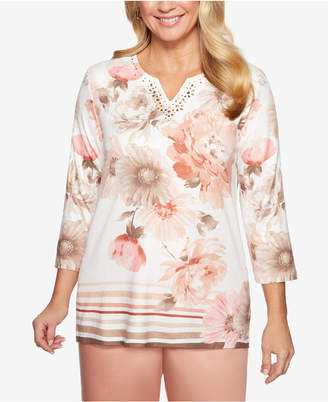 Alfred Dunner Good To Go Floral-Print Split-Neck Knit Top