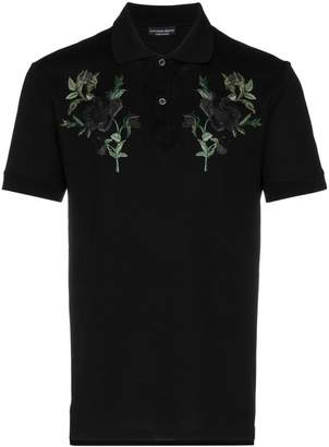 Alexander McQueen rose embroidered polo shirt