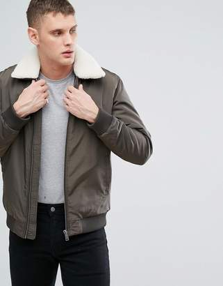 Selected Homme+ Flight Jacket With Removable Fleece Collar