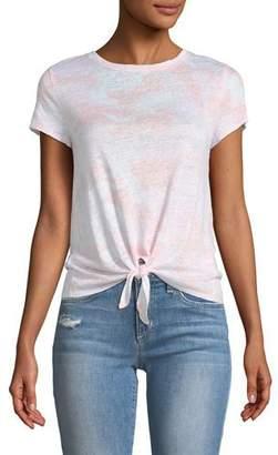 Generation Love Aliyah Linen Camo Tie-Front Top