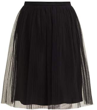 Maison Margiela Pleated Tulle Skirt - Womens - Black