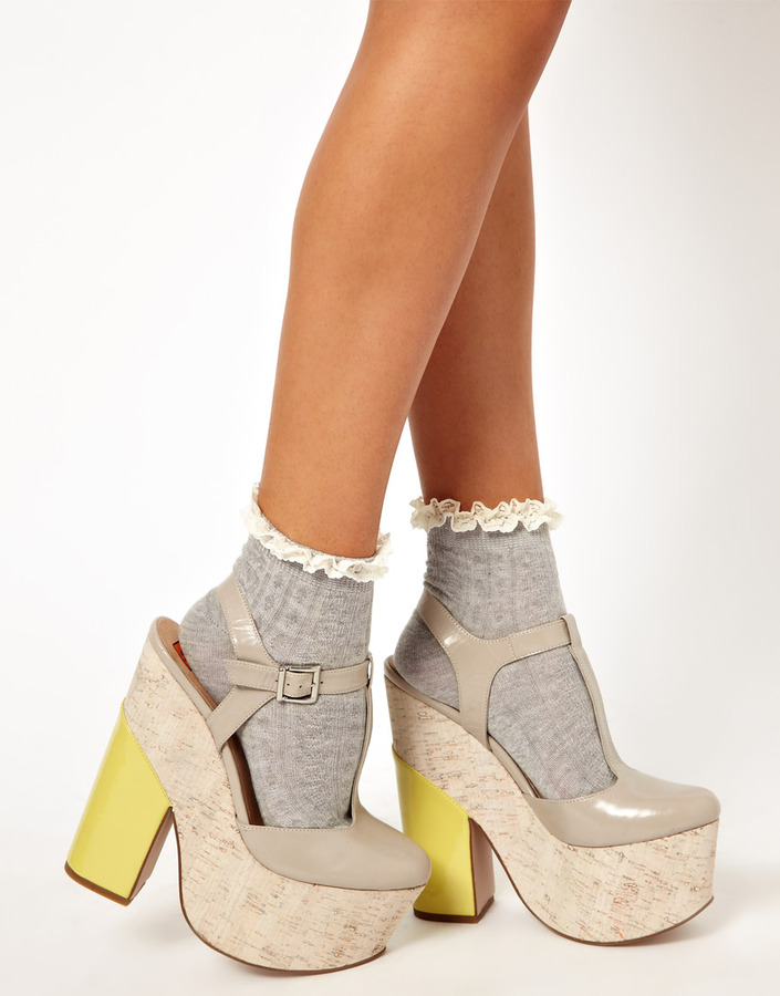 River Island Gray Cable Frill Ankle Socks