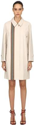 Burberry Stripe Printed Cotton Trench Coat
