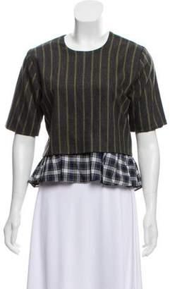 Kule Virgin Wool-Blend Striped Top Grey Virgin Wool-Blend Striped Top